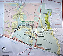 Map Of Organ Pipe Cactus National Monument On The Southwest Arizona Border The Tohono O Odham Indian Nation Lies To The Right Of Monument And The Cabeza